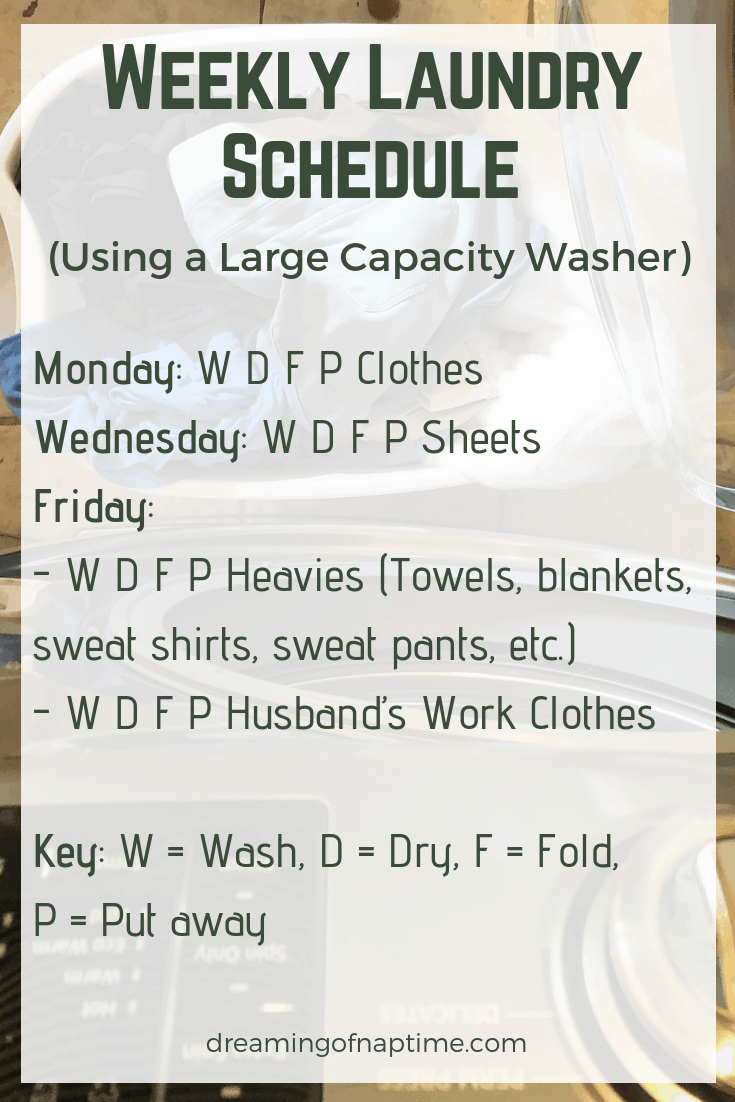 Weekly laundry schedule