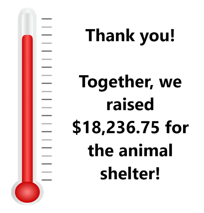 """Thank you! Together, we raised $18,236.75 for the animal shelter!"""