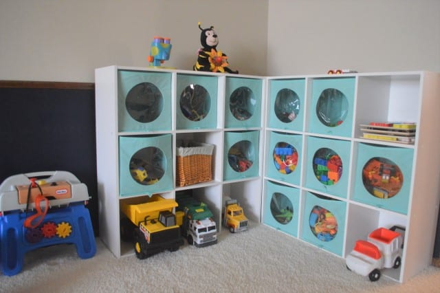 The storage cubbies we use in our playroom. Each unit has 9 cubbies. We have two units.
