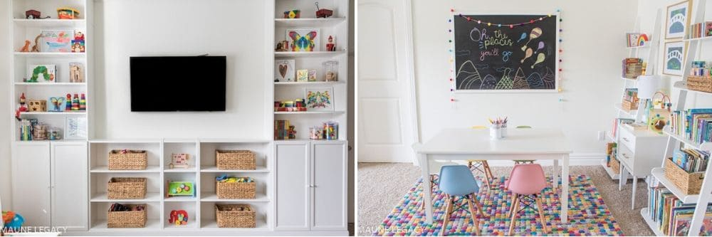 Jennifer used wicker baskets as toy storage and a vibrant area rug to add a pop of color. | Playroom ideas