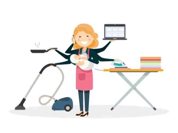 Cartoon of a mom with seven arms: two holding a baby, one vacuuming, one holding a frying pan, one holding her laptop, one ironing and one holding a cell phone to her face while she cheerfully chats away. | Stay at home mom cleaning schedule
