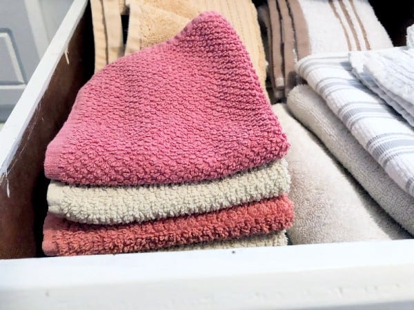 Drawer full of washcloths. | House cleaning tools