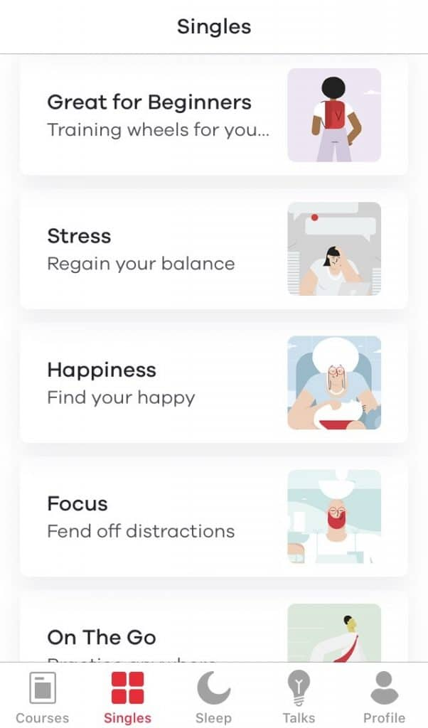 Screenshot of Ten Percent Happier app; list of guided meditations. | apps for moms