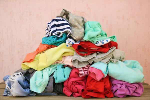 Messy pile of laundry. | organize kids clothes