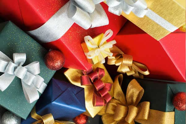 Big pile of Christmas presents -- clutter free Christmas